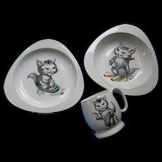 Vintage Spode Cutie Kitten Child's China Set 1950 Era Triangular Design