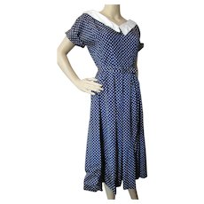 Sweet Jonathan Logan Mid Century Dress in Navy White Polka Dots