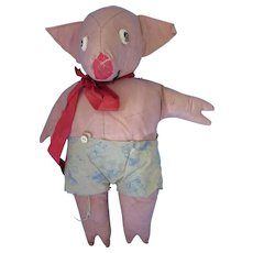 Cutest Stuffed Toy Pig in Oilcloth with Oilcloth Shorts