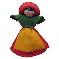 Cutest Vintage Pincushion Girl with Wood Head and Felt Body in Primary Colors