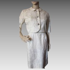 1960 Style Sheath and Jacket in Cream Tone Brocade with Rhinestone Buttons Nat Turoff Chicago