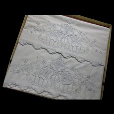 Cottage Style Embroidered Pillow Cases White on White Unused in Original Box