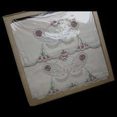 Pair Vintage Pillowcases Embroidered Cameos of Rose and Pink Flowers Never Used in Original Box