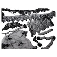 Grouping Authentic Black Laces for Doll Clothing and Repair of Vintage Clothing and Projects