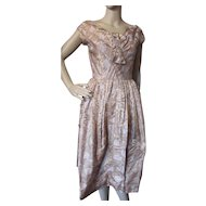 1960 Era Cocktail Dress in Floral Brocade Shades of Gold with Underskirt and Modesty Panel