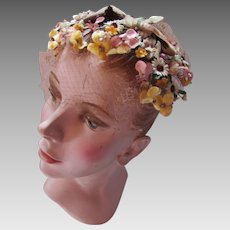 Mid Century Half Hat in Fall Color Tiny Millinery Flowers Bonwit Teller by Theresa Ahrens