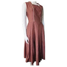 Mid Century Summer Day Dress in Chocolate Brown Cotton Welek's St. Louis
