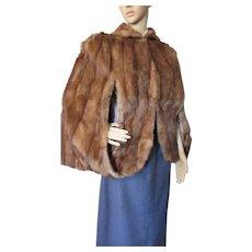 Fur Cape Stole 1940 1950 Style Medium Brown George F. Kuker Furrier Aurora Il Mahogany Satin Liner