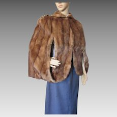 Fur Cape Stole 1940 1950 Style Medium Brown George F. Kuker Furrier Aurora Il Mahogany Satin Liner