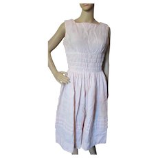 Sweet Sleeveless Summer Dress in Pink Embroidery Cotton 1960 Style Size Small