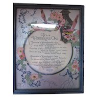 Framed Dimensional Motto Poem with Pretty Pink Flowers To A Wonderful One by CIN Art Publishing Company Gift to Mother 1965
