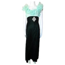 Confection of Vintage Evening Gown in Mint Green Chiffon Ruffles and Deep Green Velvet