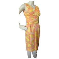 1960 Era Sleeveless Sheath in Bright Citrus Tone Chiffon and Satin Size Small Label Sx 9 Summer or Spring Vintage Dress