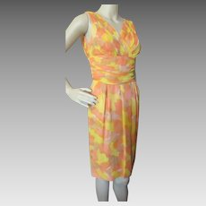 1960 Era Sleeveless Sheath in Bright Citrus Tone Chiffon and Satin Size Small Label Sx 9 Summer or Spring Vintage Dress
