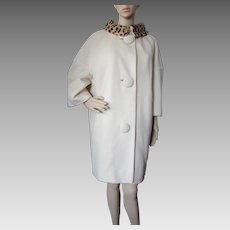1960 Era Coat in Winter White with Faux Leopard Collar a Townley by Maurice Rothschild Tailored by Brittany Coats