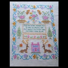 Cross Stitch Sampler on Linen Teach Me to Feel in Pink and Turquoise