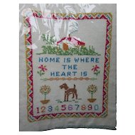 Cross Stitch Sampler on Linen Home Is Where the Heart Is Hand Made