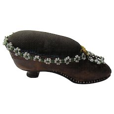 Leather Shoe Pincushion with Bead Trim and High Heel