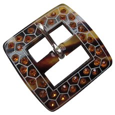 Vintage Belt Buckle in Faux Tortoise Shell Plastic and Orange Rhinestones Free Shipping USA