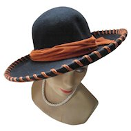 Black Felt Hat with Rust Suede Band High Style Western by Doeskin Bollman Hat Co. Made in USA