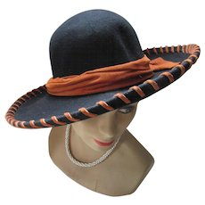 e375cdcced0 Black Felt Hat with Rust Suede Band High Style Western by Doeskin Bollman  Hat Co.