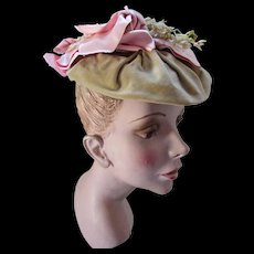 Lovely Sage Green Velvet and Pink Satin Hat in Victorian Capote Style