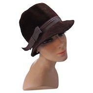 Mid Century Chocolate Brown Felt Bucket Hat Peachbloom Velour Merrimac Hat  Union Made