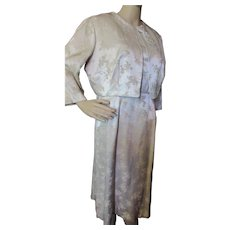Mid Century Sheath Dress and Jacket in Champagne Brocade by Edith Martin California Vintage MOB Size 18