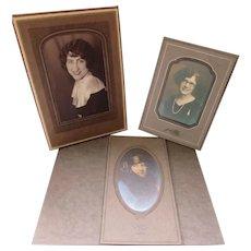 Trio Deco Era Stylish Lady Portraits in Deco Style Frames