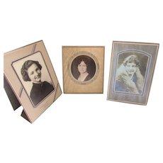 Trio 1930 1940 Era Photo Portraits Ladies in Deco Style Frames