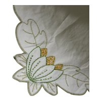 Embroidered Runner Dresser Scarf Water Lily Design