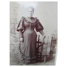 Victorian Era Sepia Photograph Woman High Fashion