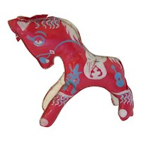 Stuffed Toy Horse  Red Cowboy Theme Vinyl