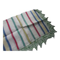 Striped Kitchen Towel with Green Crochet Edge Fringe