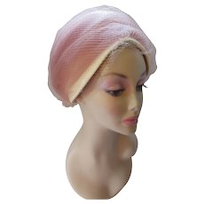Mid Century Turban Style Hat with Pleated Blush Tone Netting and Cream Color Straw Body