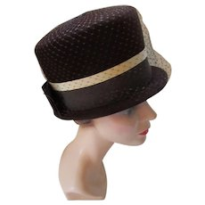 Mid Century High Top Hat in Chocolate Brown Velour Peachbloom Velois Merrimac Hats for Valerie Modes