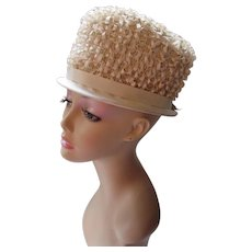 High Top Hat in Cream Tone Looped Satin Gros Grain Ribbon and Faille Brim and Crown Summer Spring Hat