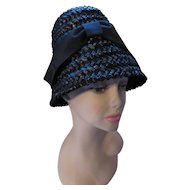 Iconic 1960 Look Lampshade Bucket Beehive Hat in Black Woven Cellophane Modern Miss