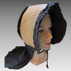 Authentic Straw and Black Cloth Prairie Style Sunbonnet Late 1800's Victorian Era Hat As Is