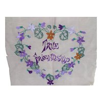 Pretty Embroidered Pillow Top True Friendship Violet & Ecru