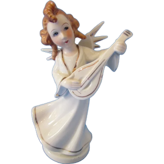 Pretty Ceramic Figurine Lute Playing Angel  H I Company Circa 1953