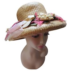 Summery  Straw Hat with High Crown and Fifty Shades of Pink Flowers Swag Juli Kay Chicago
