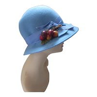 Slouch Hat Ms Jo Ann Doeskin Felt Sky Blue with Cherry Decoration