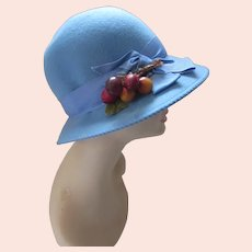 Slouch Hat Ms Jo Ann Doeskin Felt Sky Blue with Cherry Decoration