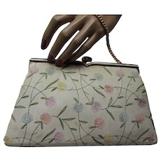Embroidered Linen Purse with Pastel Flowers & Coin Purse
