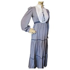 Prairie Style Dress Reproduction Centennial Costume Blue White Gingham White Bib Home Tailored
