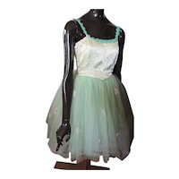 Girl's Dance Costume Green Tulle & Yellow Satin