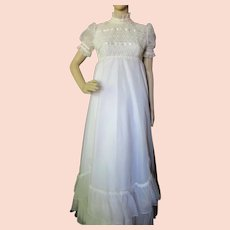 1970 Era Wedding Dress Romantic Style Empire Waist Flounced Skirt