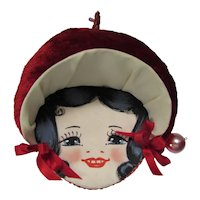 Pincushion Little Girl Painted Features Red Velvet Hat