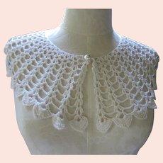 Wide White Crochet Collar Mid Century Fashion Accessory